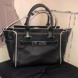 Coach Swagger 27 Carryall Black Pebbled Leather